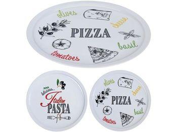 Тарелка 30cm Pizza, белая, 2 дизайна, фарфоровая