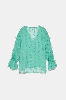 Блуза ZARA Бирюзовый 7969/037/512