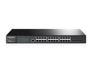TP-LINK T2600G-28TS, JetStream™ 24-port Pure-Gigabit L2 Managed Switch, 24 Gigabit RJ45 ports including 4 combo SFP slots, Port/Tag/MAC/Voice/Protocol-based VLAN, GVRP, STP/RSTP/MSTP, IGMP V1/V2/V3 Snooping, L2/L3/L4Traffic Classification