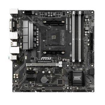 MSI B450M BAZOOKA, Socket AM4, AMD B450, Dual 4xDDR4-3466, APU AMD graphics, DVI, HDMI, 1xPCIe X16, 4xSATA3, RAID, 1xM.2 slot, 2xPCIe X1, ALC892 HDA, GbE LAN, 6xUSB3.1, MSI Mystic Light, mATX