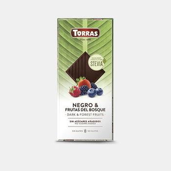 Ciocolata neagra cu stevia si fructe de padure f/a gluten Torras 125g