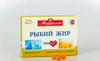 Рыбий жир с маслом пшеницы, облепихи и шиповника капсулы 0,37г №100