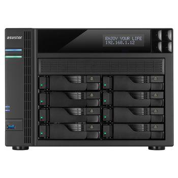 "8-bay NAS Server  ASUSTOR ""AS6208T"", Intel Celeron N3150 (Quad-Core) 1.6-2.24GHz, 4GB DDR3L(Max.8GB), 2.5""/3.5""SATA x8 (Hot Swap), LCD Panel, USB3.0 x3, USB2.0 x2, eSATA x2, Gigabit LAN x4, HDMI, S/PDIF, AES-NI, HT, IR, Surveillance: <25 (4 Free)"