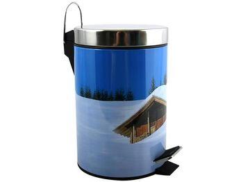 """Ведро для мусора с педалью 3l """"зимний рисунок"""", нерж сталь"""