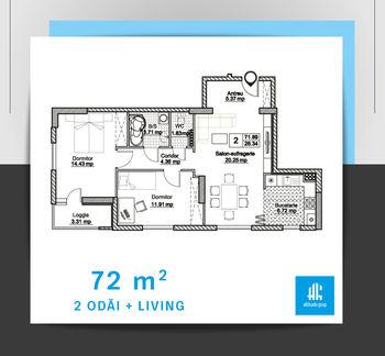cumpără Apartament cu 2 camere + living - 72 m.p. în Chișinău