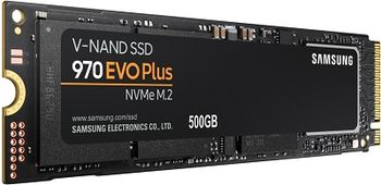 M.2 NVMe SSD 500GB  Samsung SSD 970 EVO Plus, Interface: PCIe3.0 x4 / NVMe1.3, M2 Type 2280 form factor, Seq. Read: 3500 MB/s, Seq. Write: 3200 MB/s, Max Random 4k: Read /Write: 480,000/550,000 IOPS, Samsung Phoenix controller, 3D TLC (V-NAND)