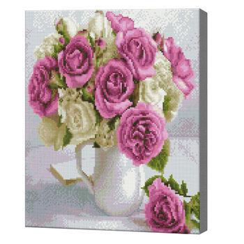 Букет лиловых и белых роз, 40x50 см, алмазная мозаика  QA204439