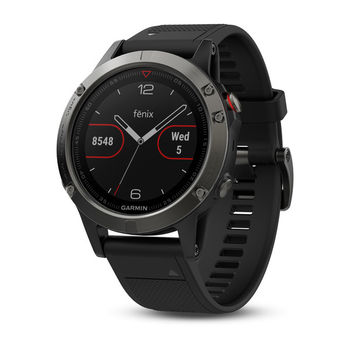 "GARMIN fenix 5 Slate Grey with black band, Multisport GPS Watch for Sport, 1.2"", Water rating 10ATM, Battery life Smart mode: Up to 2 weeks, 64MB, GPS, Compass, Bluetooth, Smart, ANT+, Smart notifications and Activity Tracking Features, 156g"