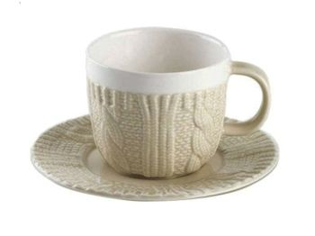купить Чашка кофейная с блюдцем Pullover 120ml, цвет молочный в Кишинёве