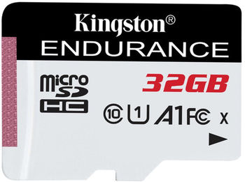 32GB microSD Class10 A1 UHS-I FC + SD adapter  Kingston High Endurance, 600x, Up to: 95MB/s, High performance, Seamless recording