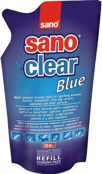 Средство для стёкол (запаска) Sano Clear Blue 750 мл