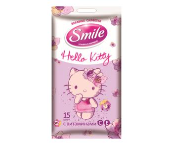 купить Влажные салфетки Smile Hello Kitty, 15 шт. в Кишинёве
