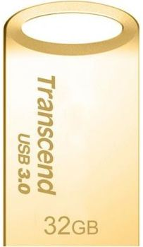 32GB USB3.0 Transcend JetFlash 710 Gold, Metal Case, Ultra-Small (Read 90 MByte/s, Write 12 MByte/s)