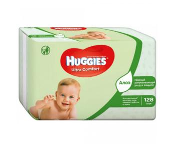 купить Влажные салфетки Huggies Ultra Comfort Aloe, 2 x 64 шт. в Кишинёве