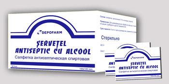 ȘERVEȚEL antiseptic cu alcool 100 х 120 mm 50 buc