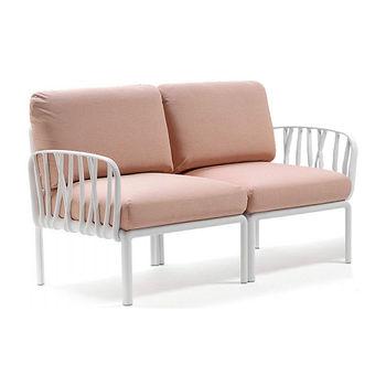 Диван с подушками Nardi KOMODO 2 POSTI BIANCO-rosa quarzo (Диван с подушками для сада и терас)