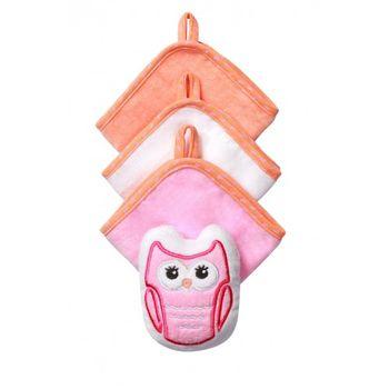 купить Набор из 3 полотенец и мочалки Babyono розовый в Кишинёве