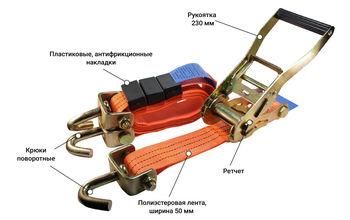 купить Стяжной ремень для автовоза с поворотными крюками 5000 Kg (3m/50mm) в Кишинёве