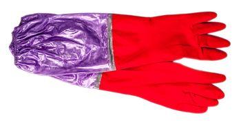 Перчатки латексные длинные на подкладке L