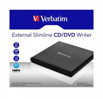 External Slimline CD/DVD Writer VERBATIM, Portable Slim -14mm, Super-Multi CDR/RW +24x/-24x, DVDR+8x/-8x, RW+6x/-6x, DL+6x, RAM 5x, miniDVD, M DISC, USB2.0, Black, Retail (98938)