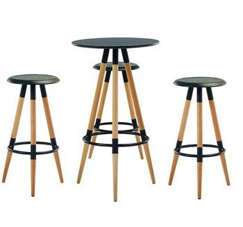 cumpără Masă - bar rotundă cu suprafaţă din MDF şi picior din lemn 600x1050 mm, negru în Chișinău