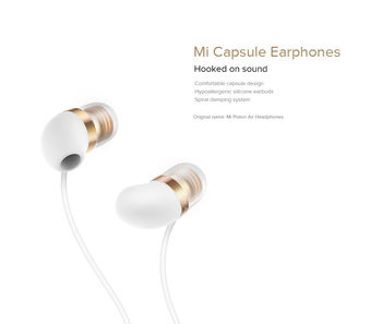 "Xiaomi ""Mi Earphone Capsule"" In-ear Earphones, White, Microphone, Rated Power 5mW, Speaker Impedance 32ohms, Frequency response: 20~20KHz, Hands free calling features, Cord type cable 1.25 m"