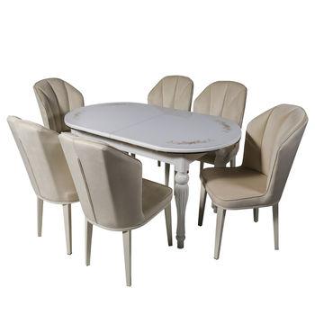 Комплект раздвижных столов DT A14 white + 6 стульев DC 6018 velour ivory