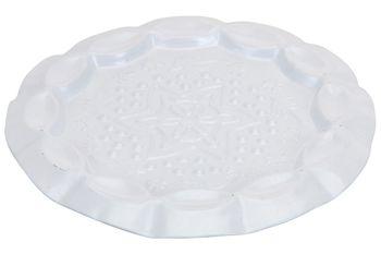 Подставка-тарелка декоративная чеканка 11.5cm, белая