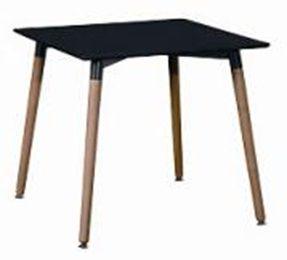 купить Квадратный стол из МДФ и ножками из дерева 800x800x750 мм, черный в Кишинёве