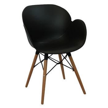 cumpără Scaun din plastic şi picioare de lemn cu suport metalic 590x580x850 mm, negru în Chișinău