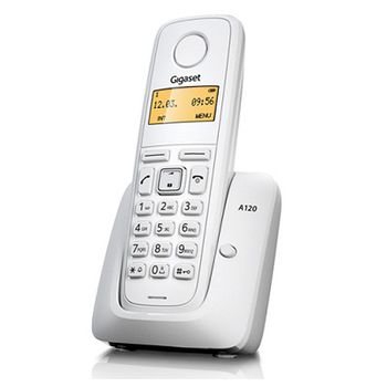 """DECT/GAP Phone Gigaset A120 Whate, handset + analog base station/charger, Alphanumeric B/W illuminated TFT 1.4"""", AOH, Caller ID, Standby time up to - 200h, Talk time up to - 18h, Phonebook # 50, up to 4 handsets, Handset 151x47x31, 2 x NiMH AAA"""