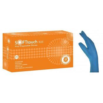 Перчатки VINYL SOFT TOUCH, размер M, BLUE, 100шт, BM