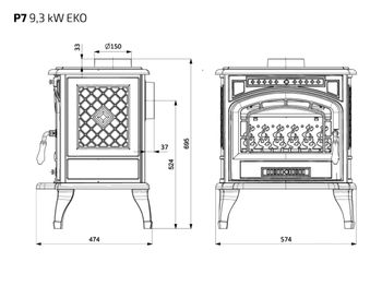 Печь чугунная KAWMET P7 EKO 9,3 kW