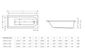 Ванна прямоугольная Excellent Aurum 170