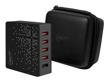 USB Charger Arctic Global Charger 8000 (APWCH00018A), 5-Port Black, Travel Bag + Travel Cable sets, 4 x USB Smart Charge 2.4A, 1 x Quick Charge 2.0, 40 Watts