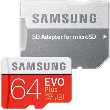 купить Samsung EVO Plus 64GB MicroSD (Class 10). UHS-I (U3)+SD adapter, в Кишинёве