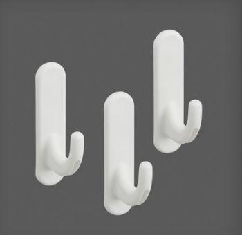 купить Набор из трёх пластиковых крючков 15x40x62 мм, белый в Кишинёве