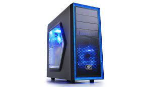 Корпус ATX Deepcool TESSERACT SW, без блока питания, 2x120 мм, синий светодиод, боковое окно, USB3.0, черный