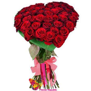 купить Композиция сердце из 35  роз 80 - 90 см в Кишинёве