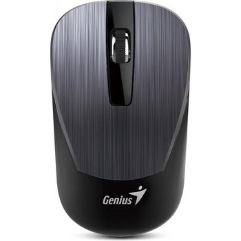 Mouse Genius NX-7015 Iron Grey, Metallic style, Wireless 2.4GHz Optical Mouse, Nano receiver, 800/1200/1600 dpi, Extends battery life up to 18 months, Battery Low Indicator, Rubber hand grip, Slot receiver, USB, Iron Grey