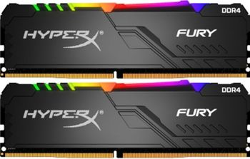 16GB (Kit of 2*8GB) DDR4-2666 HyperX® FURY DDR4 RGB, PC21300, CL16, 1.2V, Auto-overclocking, Asymmetric BLACK heat spreader, Dynamic RGB effects featuring HyperX Infrared Sync technology, Intel XMP Ready  (Extreme Memory Profiles)