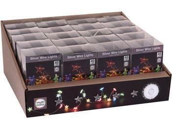 Огни новогодние Звезды 40 microLED, 2m, 3XAA, разноцвет