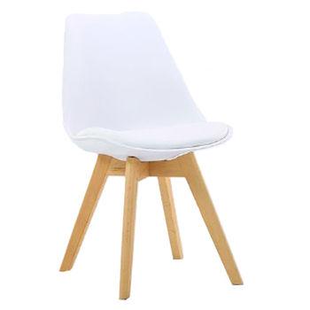 cumpără Scaun din plastic, şezut din buretă şi picioare din lemn, 480x550x800 mm, alb în Chișinău