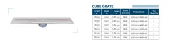 Линейный слив трап для душа Line 7-D CUBE GRATE 65cm