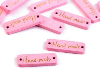 Etichetă din lemn Handmade / roz