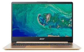 "ACER Swift 1 Luxury Gold (NX.GXREU.011), 14.0"" IPS FullHD (Intel® Pentium® Silver N5000 up to 2.70 GHz, 8Gb (1x8) DDR4 RAM, 256Gb SSD, Intel® UHD Graphics 605, CardReader, WiFi-AC/BT, FPR, Backlit KB, 3cell, HD Webcam, RUS, Linux, 1.3kg, 15mm"