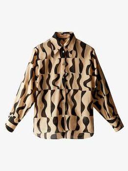 Блуза Massimo Dutti Черный/Беж 5159/864/712
