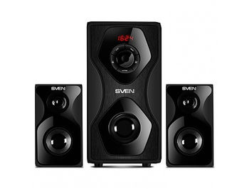 Active Speakers SVEN MS-2055 Black, mini music system: LED display, remote, Bluetooth, FM Tuner, USB port, SD slot ( 2.1 surround, RMS 55W, 30W subwoofer, 2x12.5W Satellites )