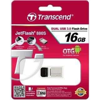 купить Micro-USB Flash Drive Transcend JetFlash 880 Silver 16Gb в Кишинёве