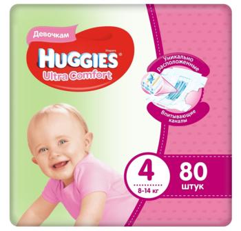 купить Подгузники для девочек Huggies Ultra Comfort 4 (8-14 кг), 80 шт. в Кишинёве